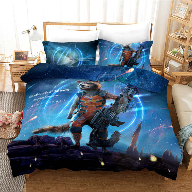 Guardians of the Galaxy Film Rocket Raccoon Bedding set Twin Size Quilt Duvet Cover Queen Bedspread for Kids Bedroom Decor 3pcs image