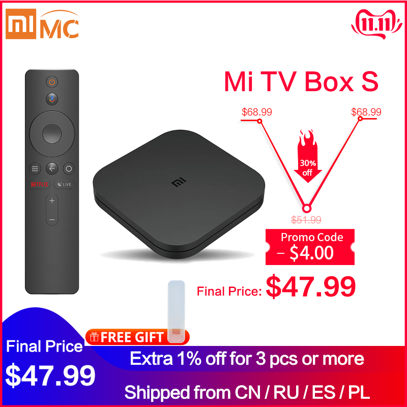 Original Global Xiaomi Mi TV Box S 4K HDR Android TV 8 1 Ultra HD 2G