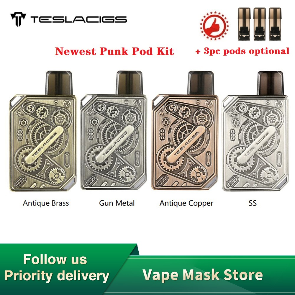 NEW Original Tesla Punk Pod Kit With 600mAh Built-in Battery & 1.2ml Pod Cartridge & 1.4ohm Coil E-cig Pod System Vs Drag Nano