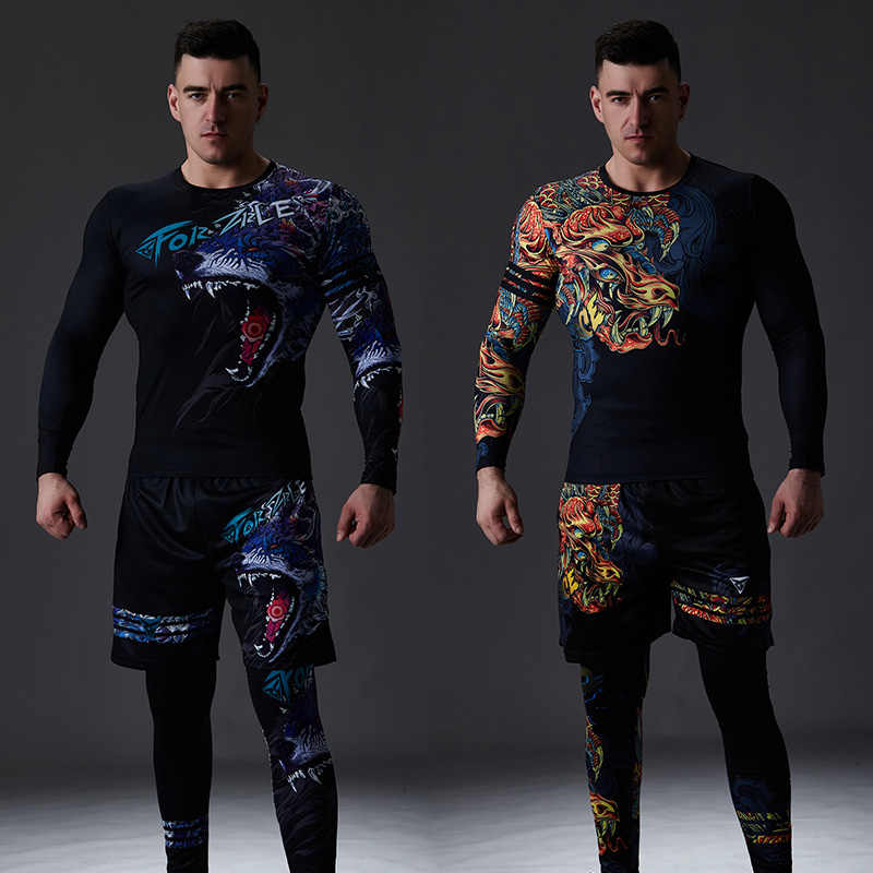 Zrce Chinese Stijl Mannen Trainingspak Gym Fitness Compressie Sport Pak Kleding Running Jogging Sport Wear Oefening Workout Set