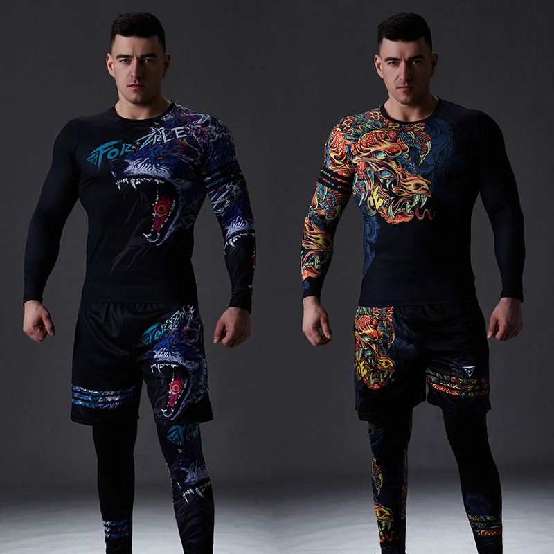 ZRCE Chinese Style Men's Tracksuit Gym Fitness Compression Sports Suit Clothes Running Jogging Sport Wear Exercise Workout Set