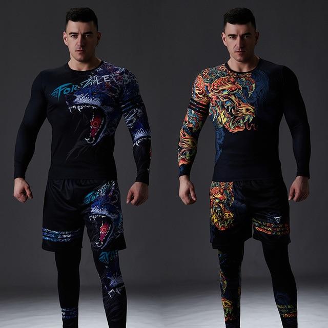 ZRCE chándal de estilo chino para hombre, ropa deportiva de compresión para gimnasio, para correr y trotar