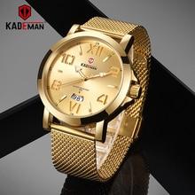 KADEMAN Gold Mens Watches Top Brand Luxury Stainless Steel Sports Quartz Auto Date Water Resistant Watch Men Relogio Masculino цена 2017