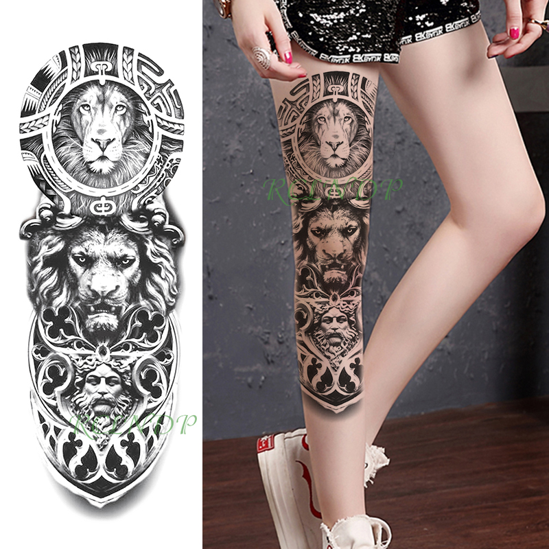 Tattoo Sticker Waterproof Temporary  Lion Head Animal Human Face Full Arm Fake Tatto Flash Tatoo Sleeve Tato For Men Women
