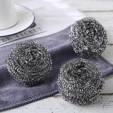 Stainless steel wire ball brush pot dishwashing with handle cleaning ball brush pot ball kitchen household cleaning ball kitchen stainless steel wash pot tool household washing dish decontamination cleaning wire ball large steel wool