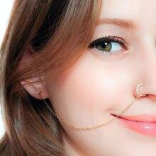 Ушной крючок нос ювелирные кольца для тела кисточкой цепь звено