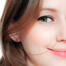 Ear Hook Nose Ring Body Jewelry Tassel Chain Link Piercing Puncture
