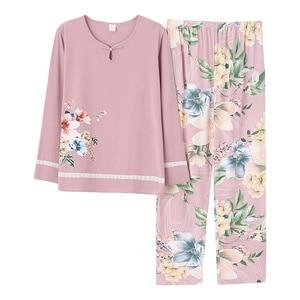 Image 3 - Outono inverno mulher pijamas casa roupas plus size pijamas conjunto de manga longa pijamas para mulher conjuntos 100% algodão