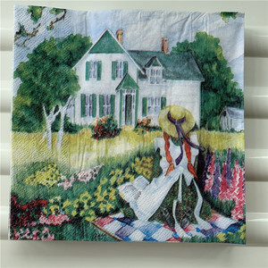 Image 2 - מגזרת נייר חתונה בציר מפיות נייר אלגנטי רקמות נוף כפרי ילדה עץ בית יום הולדת Guardanapo אריזות מפלגה