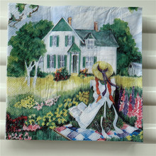 Decoupage wedding vintage napkins paper elegant tissue countryside scenery girl tree house birthday Guardanapo party serviettes