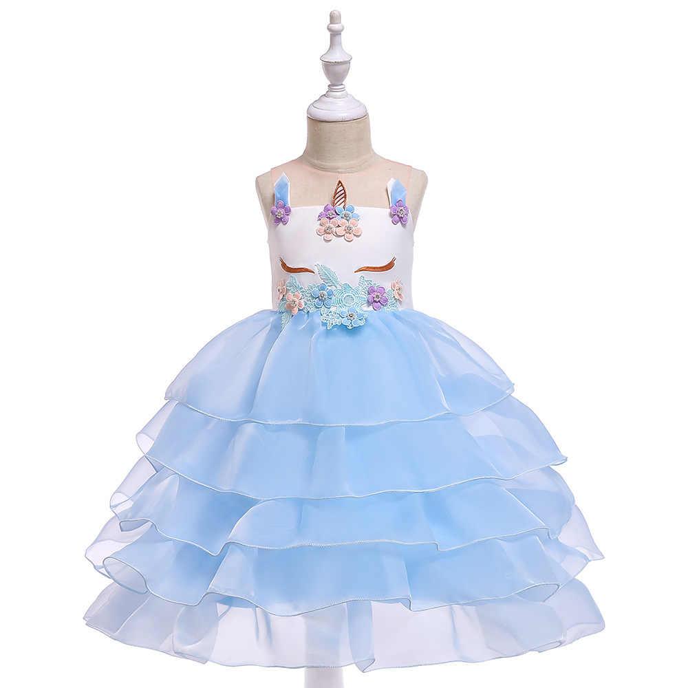 2019 avrupa ve amerika sıcak satış kızlar Unicorn tüp üst giysi çiçek çıkartmalar boncuk prenses elbise katmanlı organze kek elbise