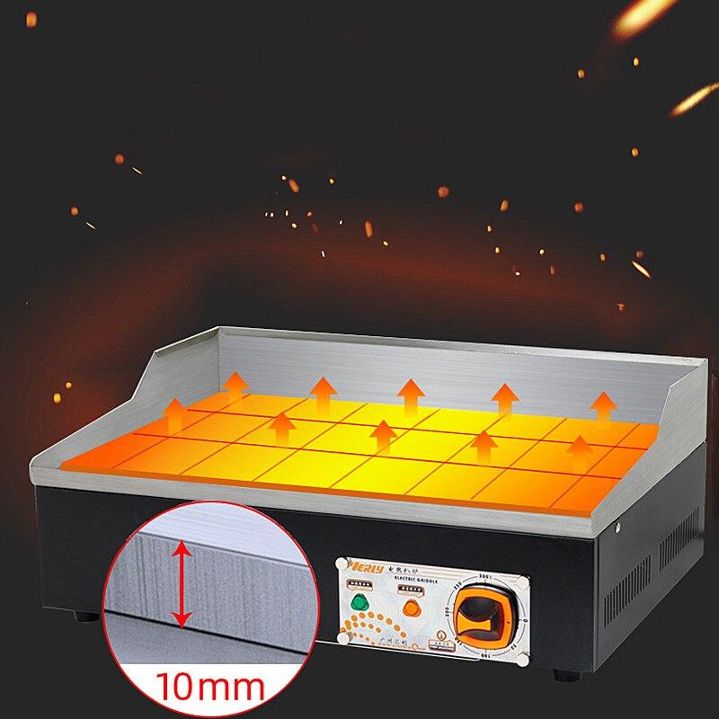Коммерческий Электрический гриль из нержавеющей стали, контактный гриль, электрическая сковорода, рифленая и плоская большая плита, гриль Teppanyaki