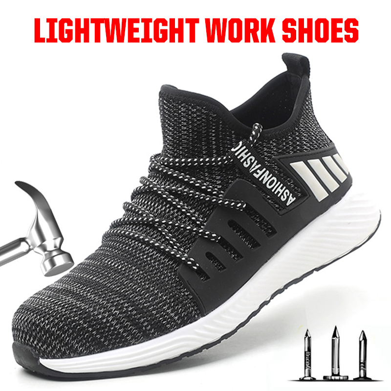 Safety Shoes Men Lightweight Indestructible Work Security Shoes Steel Toe Sneakers Man Breathable Outdoor Ankle Working Boots