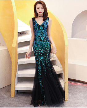 Party Dress Evening dress female 2019 new banquet fashion temperament host dress skirt female fishtail long ladies dress vestido