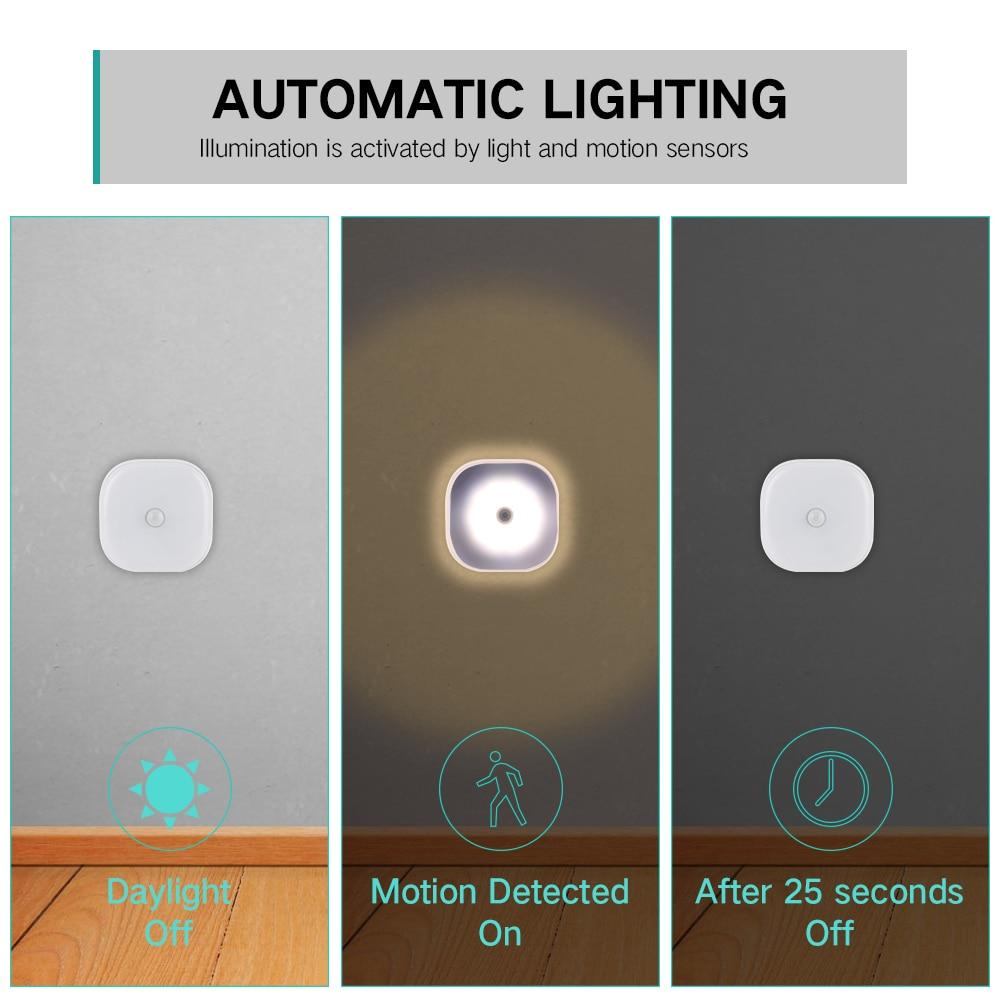 Image 4 - 10 LEDs PIR Motion Sensor Night Light Lamp for Bedroom Kitchen Magnetic Closet Cabinet Light Wireless Corridor Stair Light-in LED Night Lights from Lights & Lighting