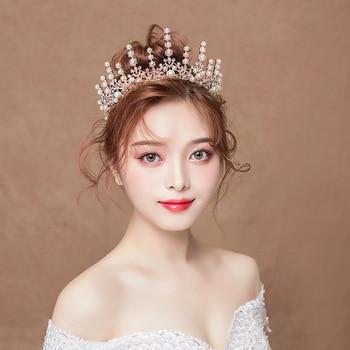 Bride Headdress Glorious Marriage Crown Wedding Dress Hair  Wedding Baroque Accessories Royal Hat Wedding Flower Hair Combs