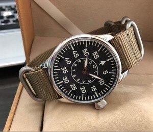 Image 3 - 44mm nie logo czarna tarcza dwie ręce azjatyckich 6497 17 klejnotów mechaniczne ręcznie nakręcany ruch mężczyzna zegarka zegarek świetlny pa173 pp8