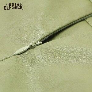 Image 4 - ELFSACK Black Solid Irregular Pocket Leather Mini Women Skirts 2019 Winter New Green Belt Locomotive A Line Ladies Daily Skirt