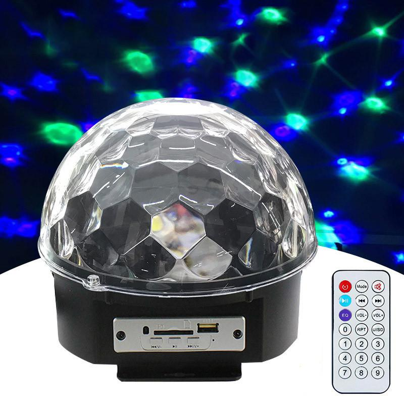 Bluetooth LED DJ Disco Light Sound Control Stage Lights RGB Magic Crystal Ball Lamp Projector Effect Lamp Light Christmas Party