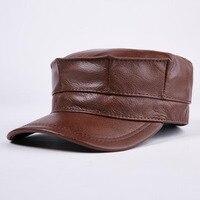 T MAC Fashion Design Genuine Leather Hat Man Baseball Cap Women Baseball Hats Keep Warm Casual Winter Caps Brown Cap