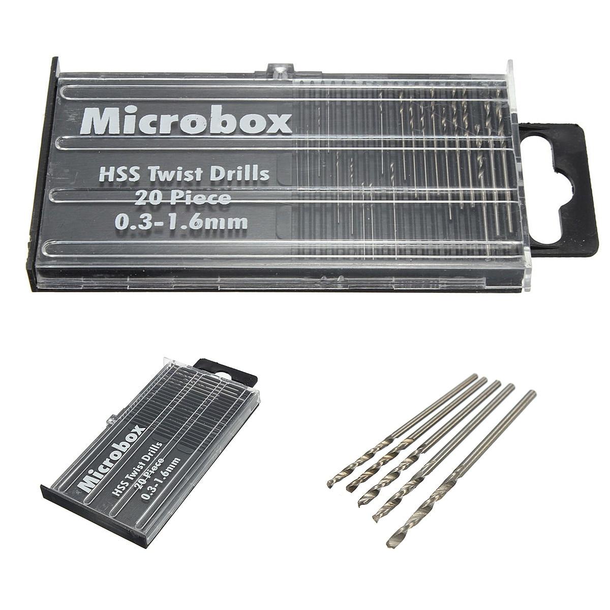 Newest 20Pcs/set 0.3mm-1.6mm Mini High Speed Steel HSS Micro Twist Drill Bit Set Power Tools Model Craft With Case Repair Parts