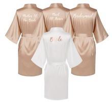 סאטן משי גלימות בתוספת גודל חתונה חלוק הכלה שושבינה שמלת שמלת נשים בגדי הלבשת עוזרת של הכבוד עלה זהב