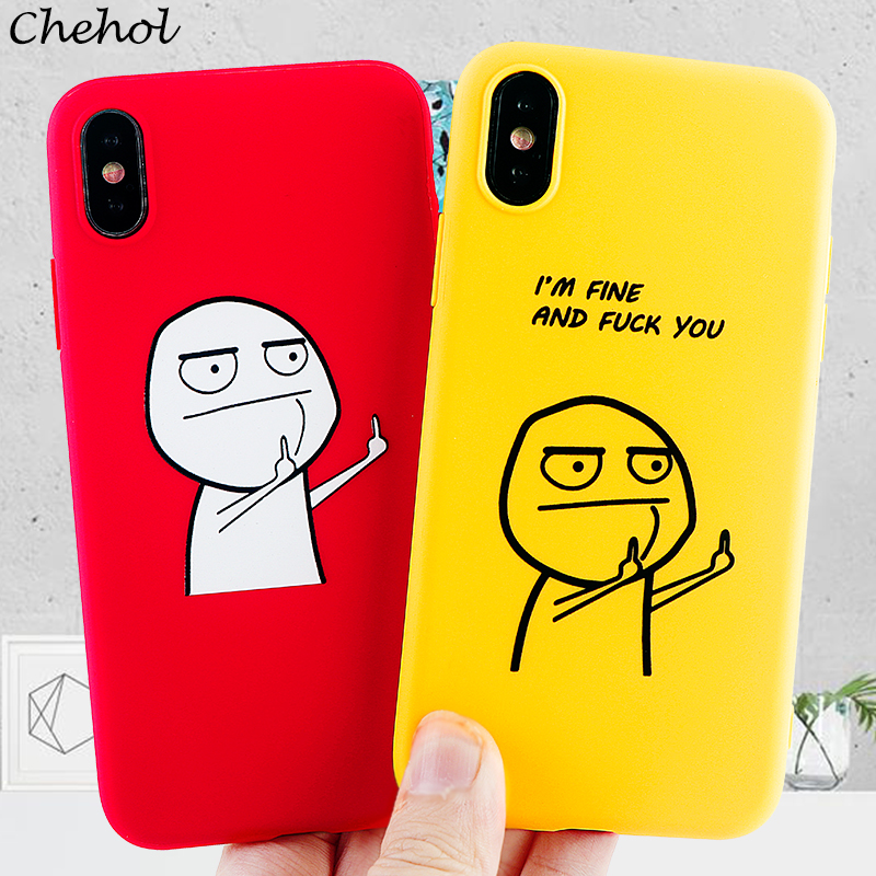 Funny Cartoon Phone Cases for iPhone 11 Pro 8 7 6s Plus X XS MAX XR Case Soft Silicone TPU Fitted Candy Back Covers Accessories image