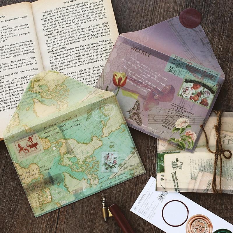 WOKO Retro Map Twilight Bronzing Meteor Forest Landscape Translucent Envelope Message Card Letter Stationary Storage Paper Gift