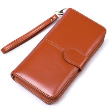 цена на Women Long brown Wallets Simple Style Zipper Hasp Purse With Card Holder Oil Wax Pu Leather Ladies Daily Wallet free shipping