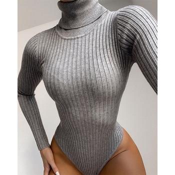 Long Sleeve Turtleneck Bodysuit Women Winter Clothing Ribbed Knitted Skinny Women's Body Gray Black 2020 New Female Outfits 6