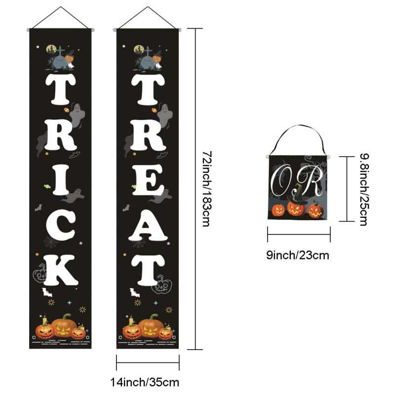 Halloween Hanging Sign Trick Or Treat Banner For Home Office Porch Front Door Display Decorations in Party DIY Decorations from Home Garden