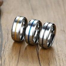 цена NHGBFT 8mm Men's tungsten carbon ring Blue Yellow groove wedding engagement ring Male jewelry Dropshipping онлайн в 2017 году