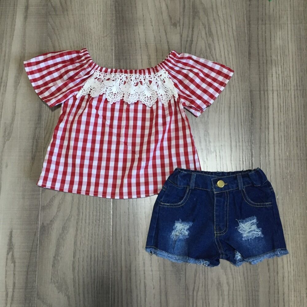 Baby Girls Clothes Plaid Outfits Jeans Shorts Red Plaid Top Kids Outfits