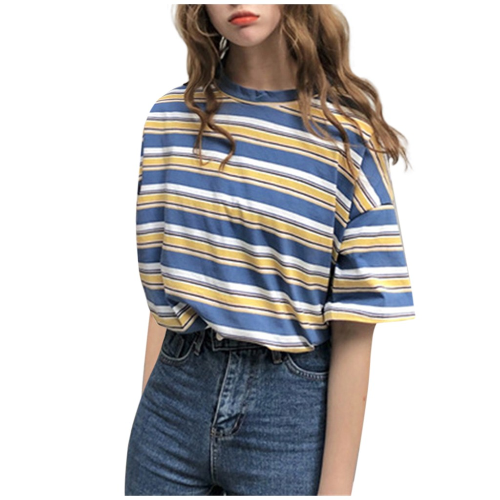 Women Girls Short Sleeve Summer Casual Striped Tops Clothes T-shirt Tunic 2020 High Quality Hot Selling Casual Блузка Женская#Y5