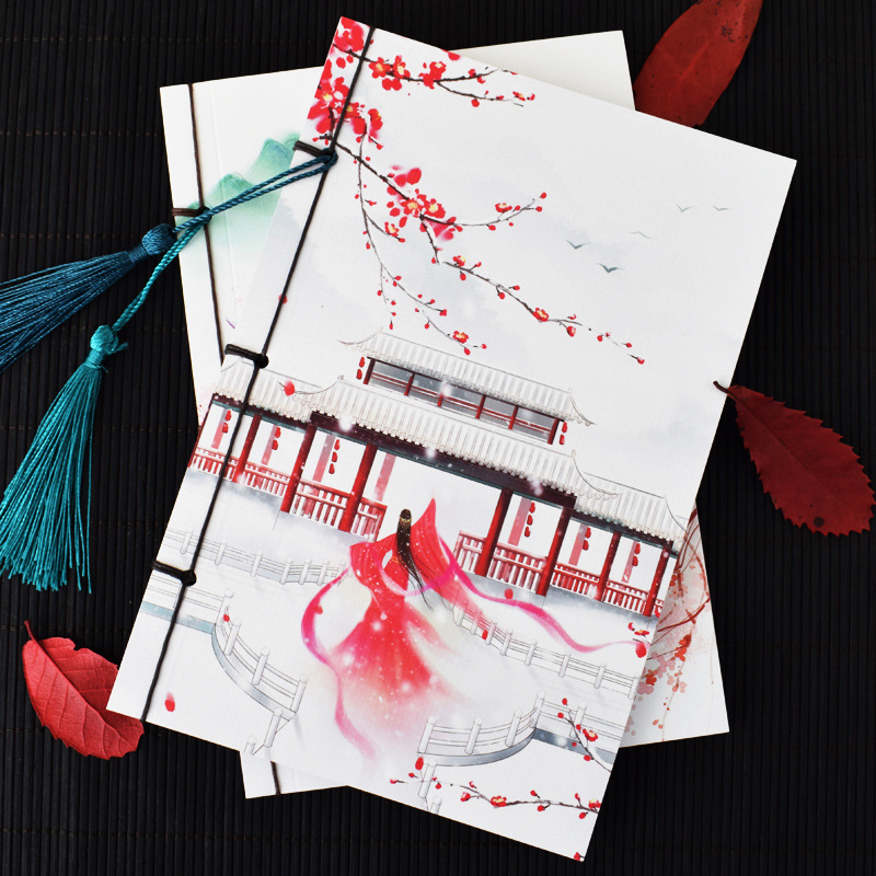 A5 65 Sheets Chinese Style Vintage Notebook Tassels Wire-bound Diary Notepad Kraft Paper Gift Notepad