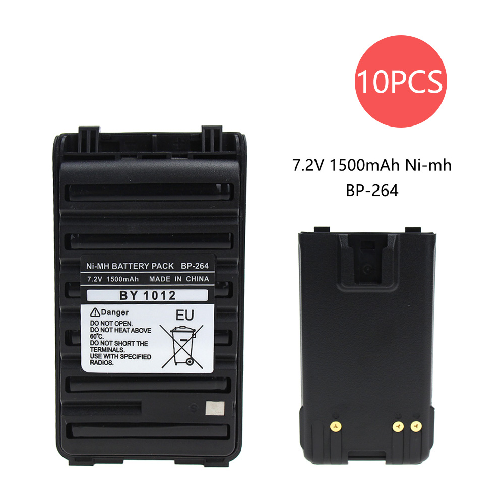 10X 1500mAh BP-264 BP-265 NI-MH Battery Pack For ICOM Radio IC-T70 IC-V80E IC-F3001