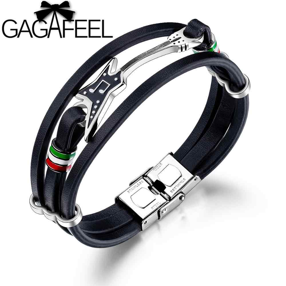 GAGAFEEL Punk Men's Leather Bracelet Unique Stainless Steel Guitar Bracelets Multilayer Braided Rope Bangle Men Accessories