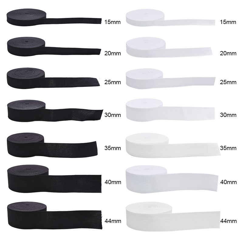 5Yard 15-44mm Sewing Elastic Band White Black Nylon Wide Elastic Band  DIY Skirt Garment Trousers Lace Trim Sewing Accessories