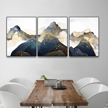 Laeacco Canvas Painting Calligraphy Watercolor Mountain Posters and Prints Wall Artwork Pictures For Living Room Decoration