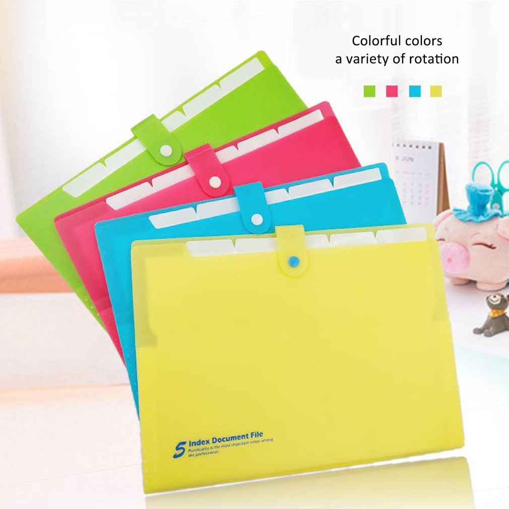 Deli 5pcs File Folder Organ Bag A4 Organizer Paper Holder A4 Size Document Folder Office School Supplies(Random Color)