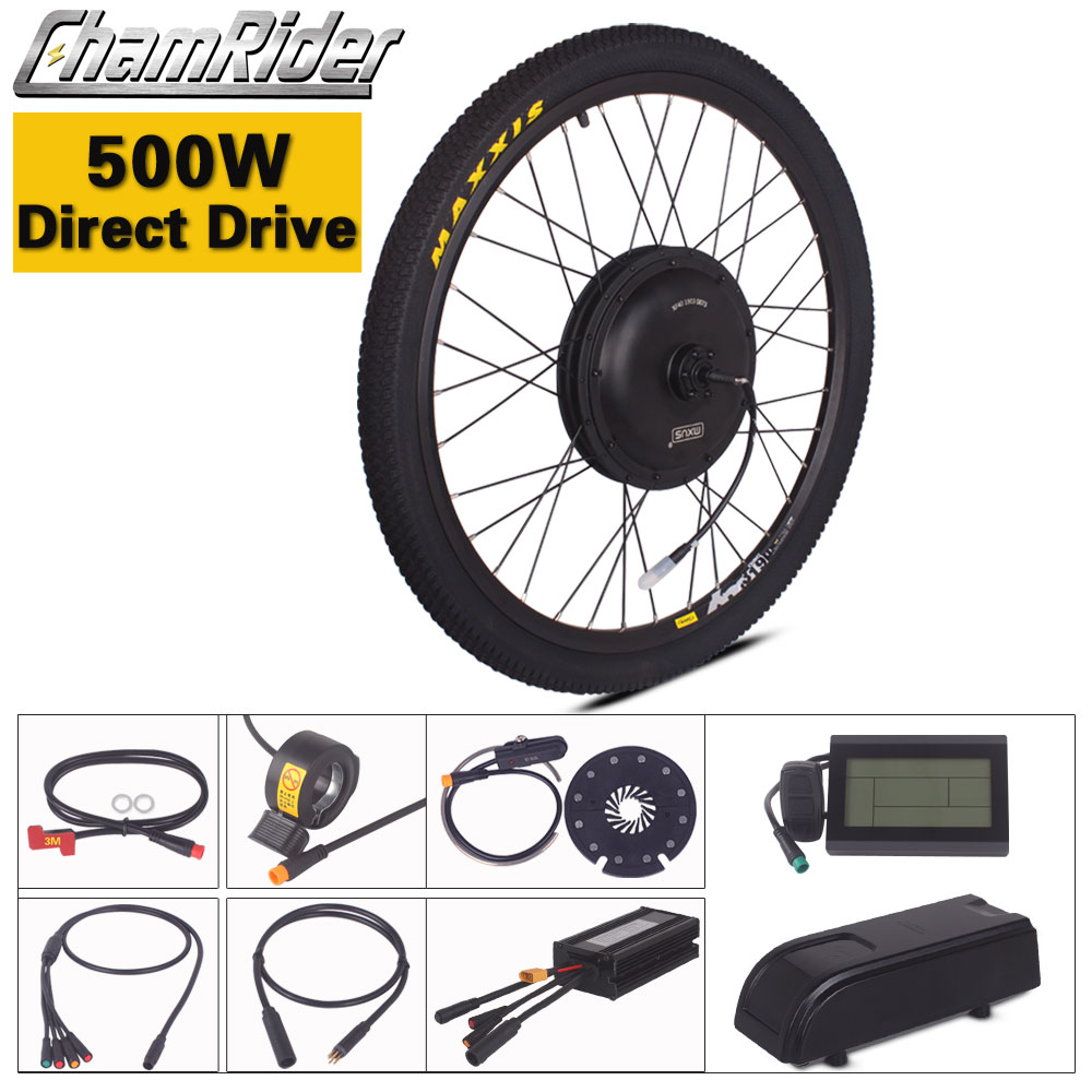 Chamrider Electric Bike Kit 500W Direct Drive Ebike Kit 36V 48V MXUS LCD3 Display Julet Waterproof Connector Plug NO Battery