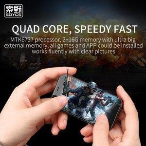 Image 3 - SOYES XS Super Mini teléfono inteligente 2GB RAM 16GB ROM Android 6,0 3 Dual Sim Quad Core de vidrio cuerpo más pequeño de 4G LTE móvil teléfono