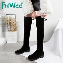 FITWEE Women Thigh High Boots New Winter Black Casual Lace Up Stretch Shoes Women Autumn Over The Knee Boots Size 35-40(China)