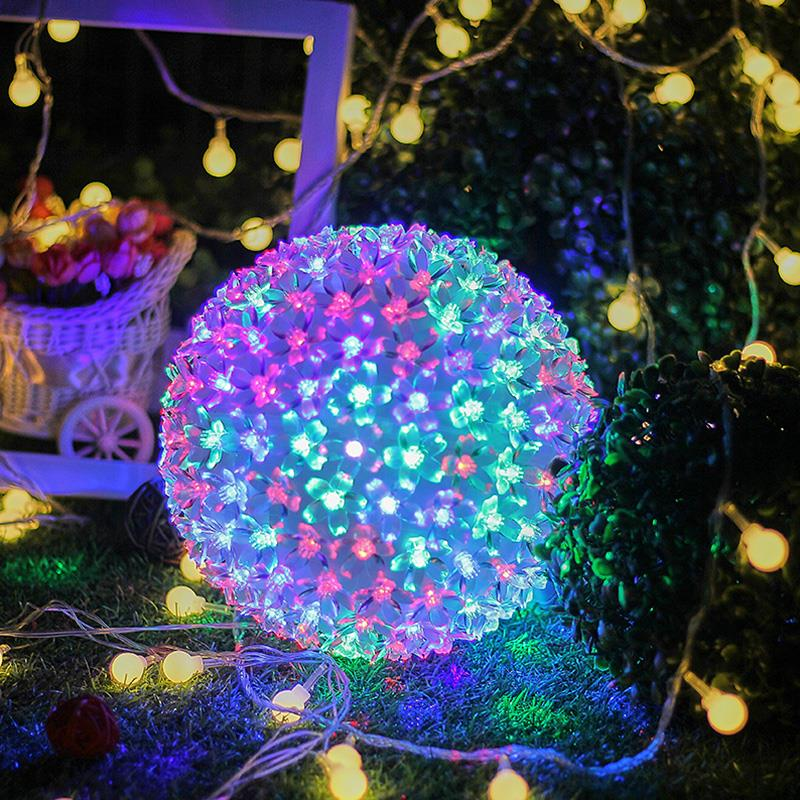 Fairy Light Crystal Ball LED Nightlight Landscape Lamp Outdoor Xmas Decor Wedding Yard Festival Garden Battery Operated 50LED