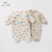 DBZ12176 dave bella winter unisex baby long sleeve romper infant toddler print jumpsuit children boutique new born romper