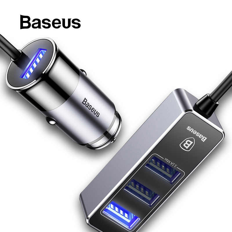 BASEUS 4 USB Cepat Charger Mobil untuk Iphone Ipad Samsung Tablet Ponsel Charger 5V 5.5A Mobil USB Charger adaptor Mobil Charger