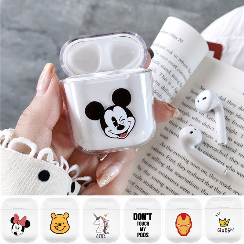 Cute Cartoon Clear PC Case For Airpods 1 2 Wireless Headphone Protective Cover Shockproof Box For Apple Air Pods Earphone Coque