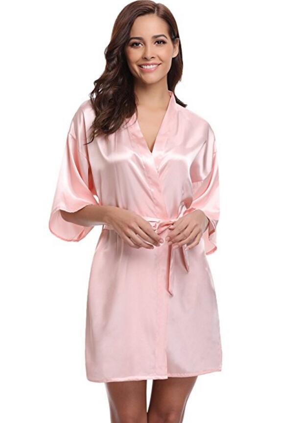 New Silk Kimono Robe Bathrobe Women Silk Bridesmaid Robes Sexy Navy Blue Robes Satin Robe Ladies Dressing Gowns