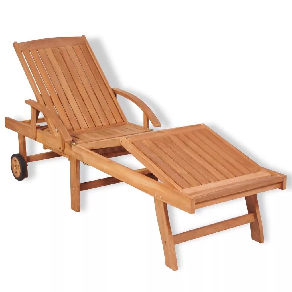 VidaXL Sun Lounger Solid Teak Wood Adjustable Backrest In 5 Positions Sun Lounger 195 X 59.5 X 35 Cm Teak Wood Outdoor Lounger
