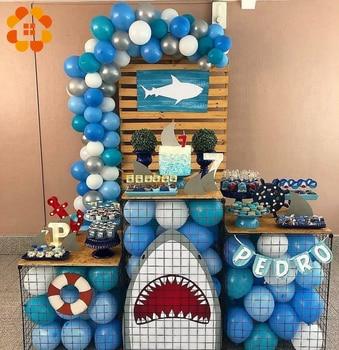 Creativo FAI DA TE Blu Squalo A Tema Decorazioni della Festa di Compleanno Per Bambini Palloncini Pompon Photobooth Stoviglie Usa E Getta Baby Shower Decor